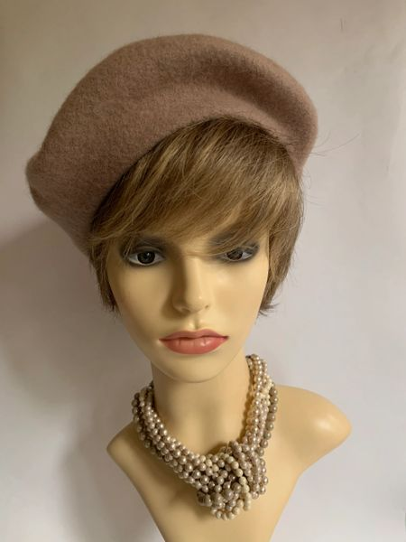 Vintage 1960s Inspired Dusky Pink French Style Wool Fine Knitted Beret Unlined
