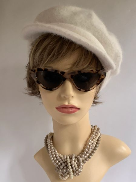 Ivory 1960s Inspired French Style Angora Wool Knit Unlined Peaked News Boy Baker Boy Peaked Cap