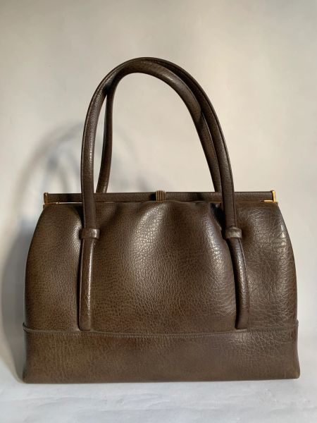 Chamelle by Essell 1950s Brown Textured Vinyl Vintage Handbag