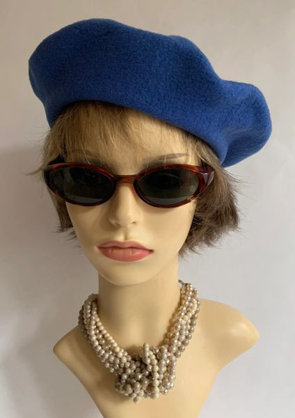 St Michaels French Blue 1960s Inspired French Style Wool Fine Knit Beret Unlined