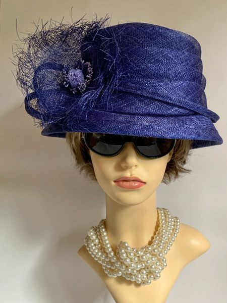 Hat Studio Design Sinamay Lilac Blue Dress Cloche Hat With Front Large Rosette Detail