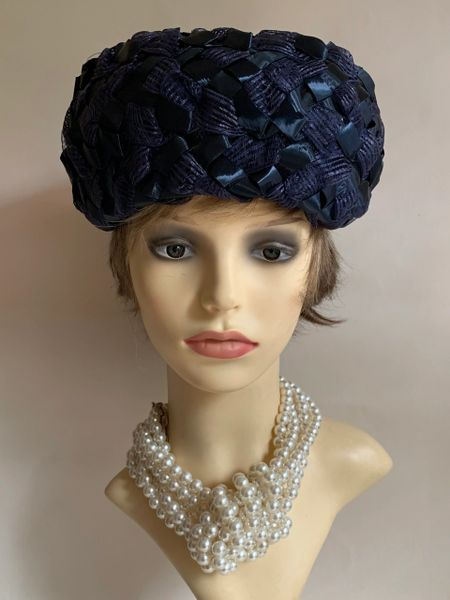 Vintage 1960s Blue Turban Style Woven Stiff Polyester Hat 22 Inches Fully Lined With Bow to Rear