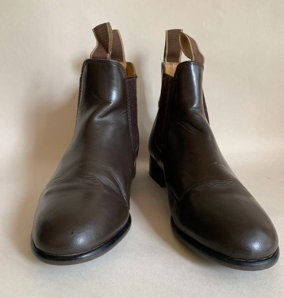Loveson Brown Leather Ankle Length Chelsea Boots Round Toe Flat Heel UK 6 EU 39