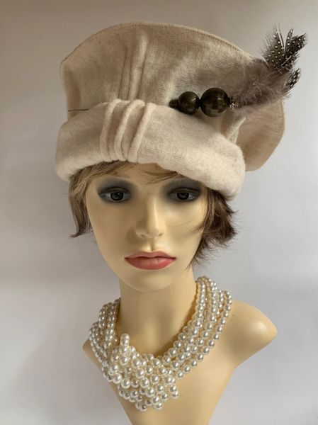 Ivory Course Wool Pakol Afghan Ethnic Hat Beret One Size 22 Inches
