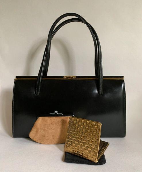 Jonelle Black Leather 1950s Vintage Handbag Purse Suede Lining Kigu Compact Gold Toned Fittings