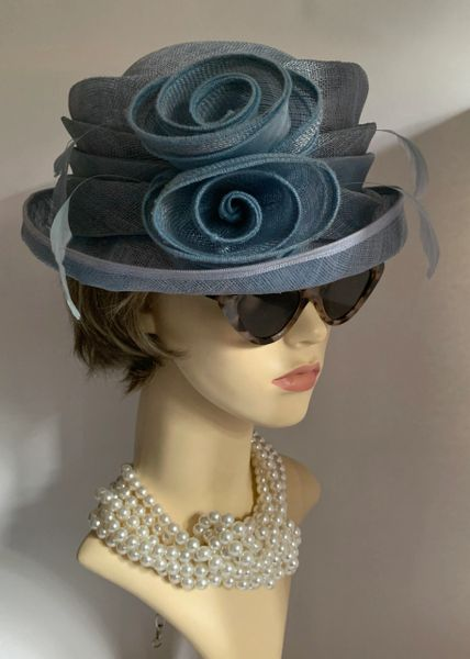 Sinamay Light Blue Dress Hat Weddings Church Races With Rosette Flower Detail