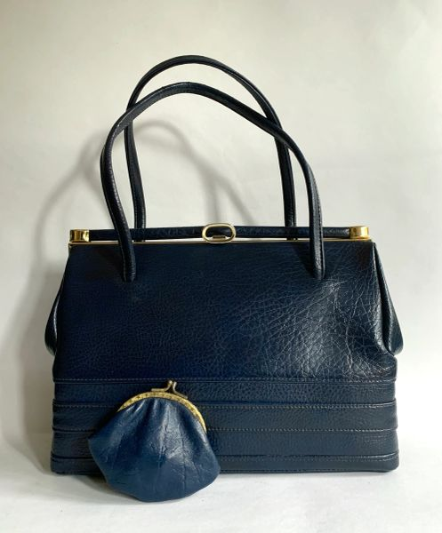 MacLaren Vintage 1960s Blue Faux Leather Handbag With Blue Fabric Lining Elbief Frame And Coin Purse