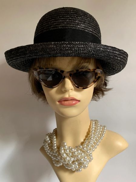 Elegance Collection Black Small Brim Straw Hat Grosgrain Ribbon Straw Bow to Back