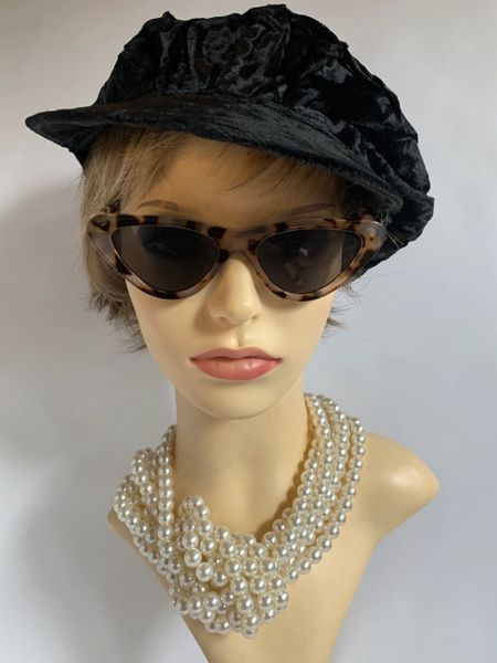Black 1960s Inspired French Style Crushed Velvet Viscose Lined Peaked News Boy Baker Boy Peaked Cap