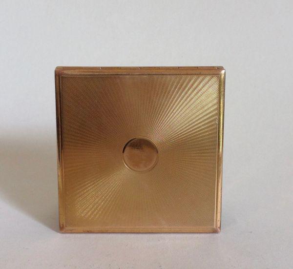 ABME Switzerland Vintage 1950s Square Brass Powder Compact