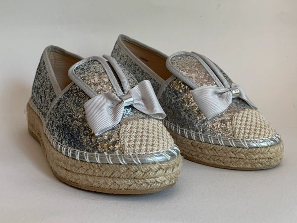 Sole Sister Silver Glitter Flat Bunny Espadrilles Surfer Shoes Small Size 4. EU 37