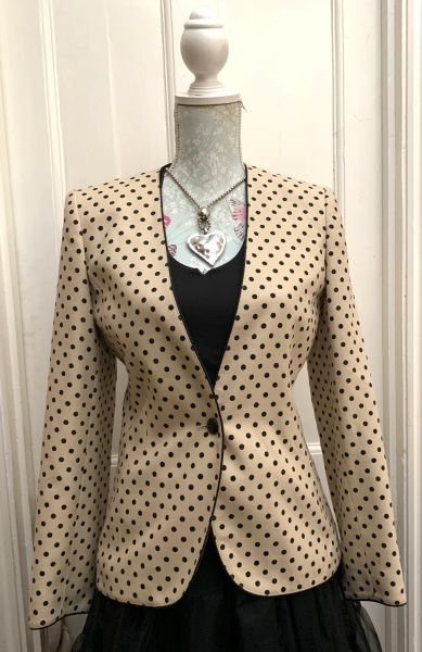 Windsmoor Cream Black Spotted Polyester Mix Long Sleeve Jacket Size 10.