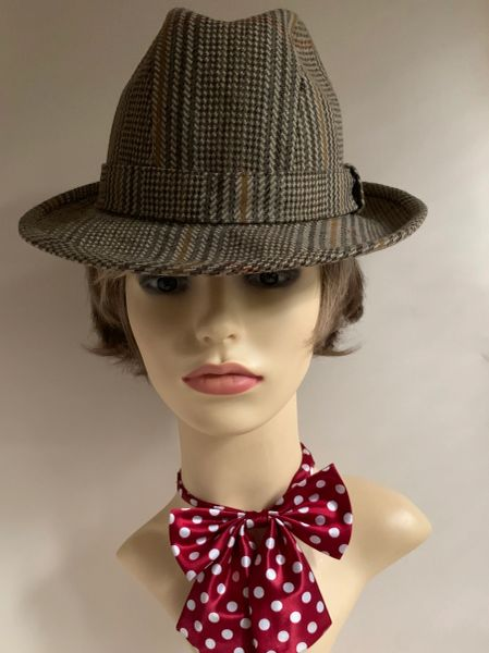 Harrods 100% Wool Sussex Tweed Beige Trilby Stingy Brim Hat Fully Lined Size Small 54cm