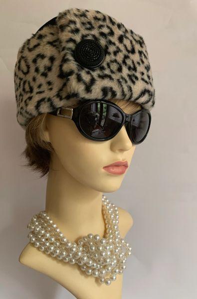 Handmade Velvet & Faux Leopard Fur Russian Cossack Style Hat Fully Lined