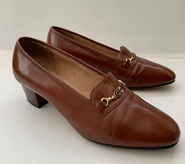CHURCH'S Vintage 1960s Women's Court Shoe Tan Leather Mid Heel Size UK 4 EU 37