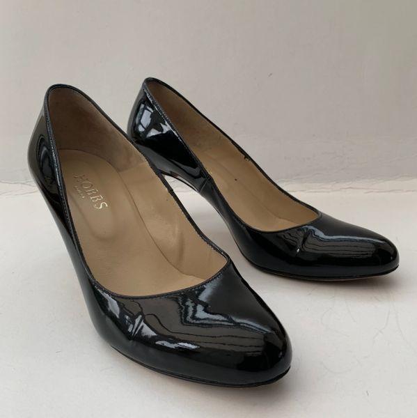 "Hobbs Black Patent Leather 2.75"" Slim Stiletto Heel Business Court Shoe Size UK 4.EU 37"
