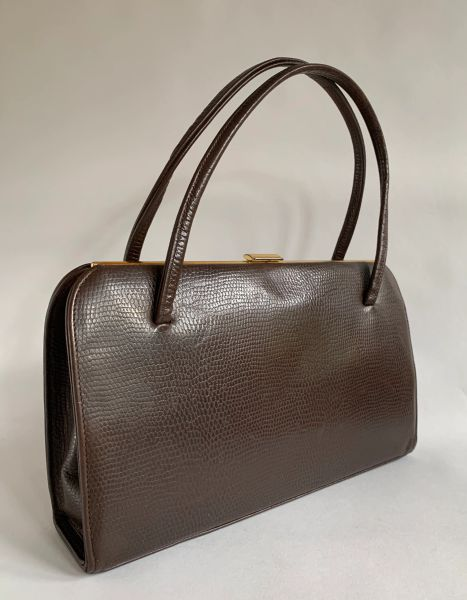 Vintage 1960s Brown Lizard Print Faux Leather Handbag Buff Suede Leather Lining