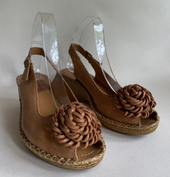 Lasocki Light Tan Slingback Wedge Heel Bow Front Leather Sandal Espadrilles UK 5 EU 38