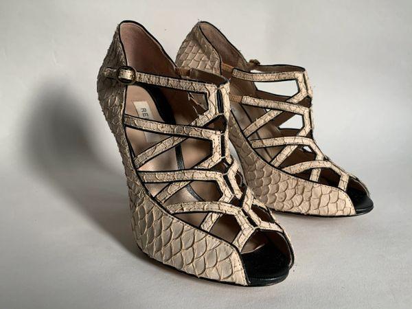 Reiss Ivory Shake Effect All Leather Lattice Top Stiletto Heel Shoes UK 4 EU 37