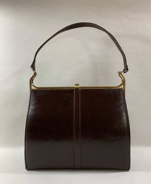 Hamilton Vintage 1960s Handbag In Brown Leather With Buff Suede lining.