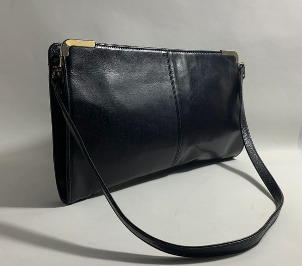 Maclaren Black Leather 1970s Clutch Shoulder Bag With Removable Strap And Black Fabric Lining