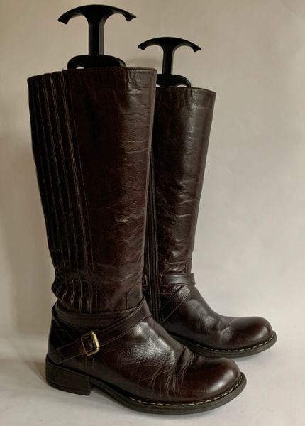 Autograph M & S Brown Leather Knee Length Low Heel Boots Side Zip Size UK 3 EU 36