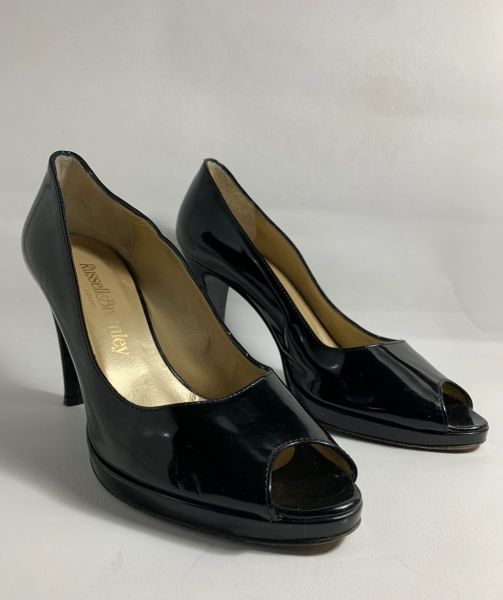 Russell & Bromley Black Patent Leather Peep Toe Court Shoes UK Size 4 EU 37