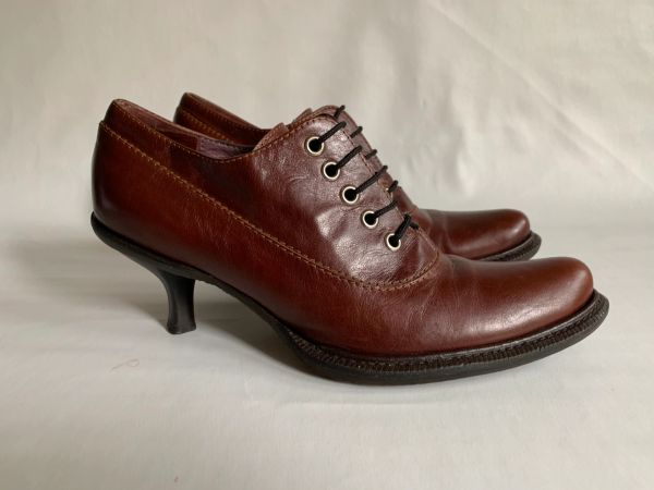 """Coccinelle Whisky Tan Leather 2.25"""" Kitten Heel Lace Up Booties Shoes Steampunk Size UK 4 EU 37"""