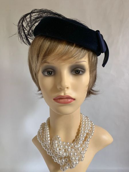 Kangol Vintage 1980s Blue Velvet Pillbox Hat Feather Top & Bow Trim Fully Lined