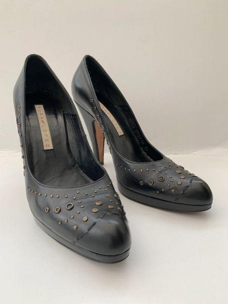 "Pura Lopez Black All Leather Studded 4.5"" High Heel Shoes Size UK 6 EU 39."