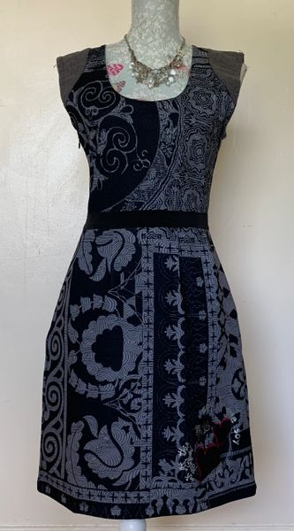 Desigual Grey Pattern Stretch Fitted Knee Length Dress Size 12