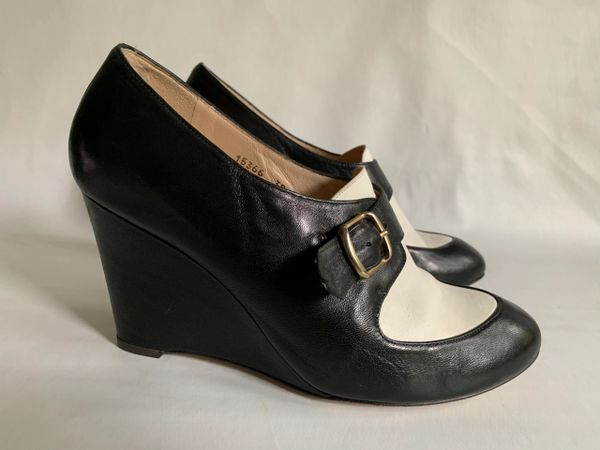 """Lucille I'italien Black & White Leather Buckle Front 3.5"""" Wedge Heel Shoes Size UK 5 EU 38"""