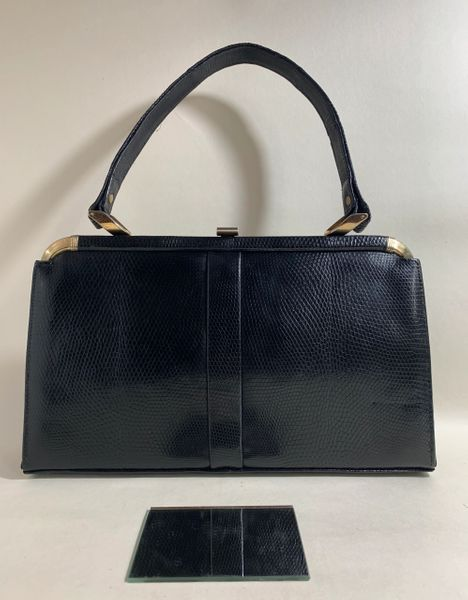 Marquessa Vintage 1950s Rich Black Lizard Skin Handbag Buff Suede Lining And Mirror