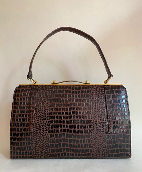 Unbranded Vintage 1950s Deep Rich Brown Faux Leather Moc Croc Embossed Handbag Kelly Bag With Buff Suede Lining