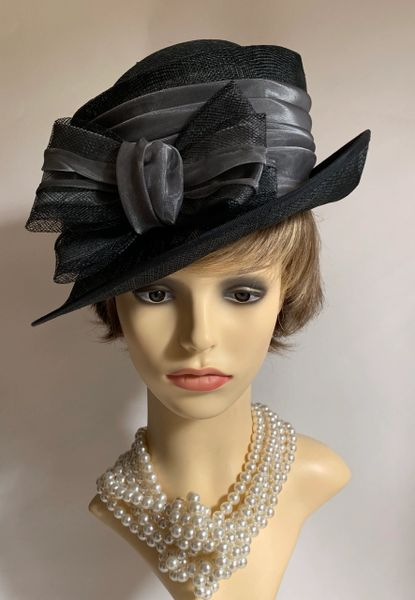 Llewellyn & Mitchell Black Charcoal Sinamay Dress Hat Large Bow And Ribbon Detail