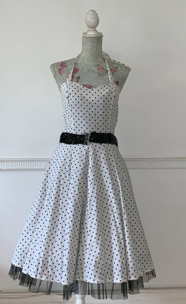 Hearts & Roses H&R White Spotted Rockabilly 1950s Retro Halterneck Dress Size 12.