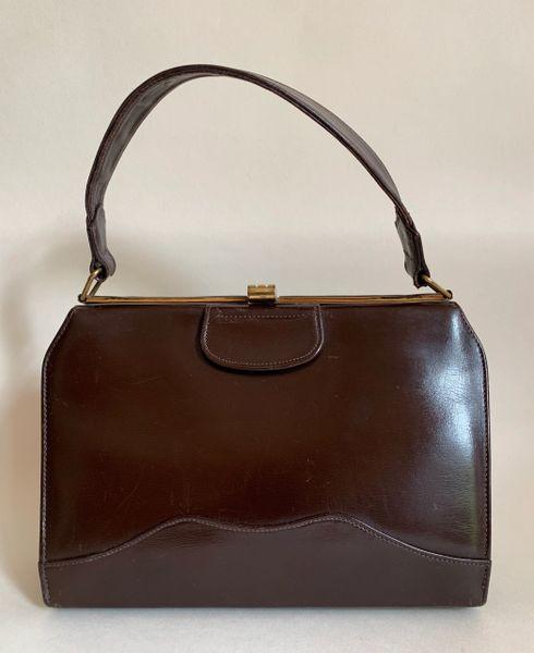 MOREWARE 1960s Brown Calf Leather Vintage Handbag With Brown Fabric Lining