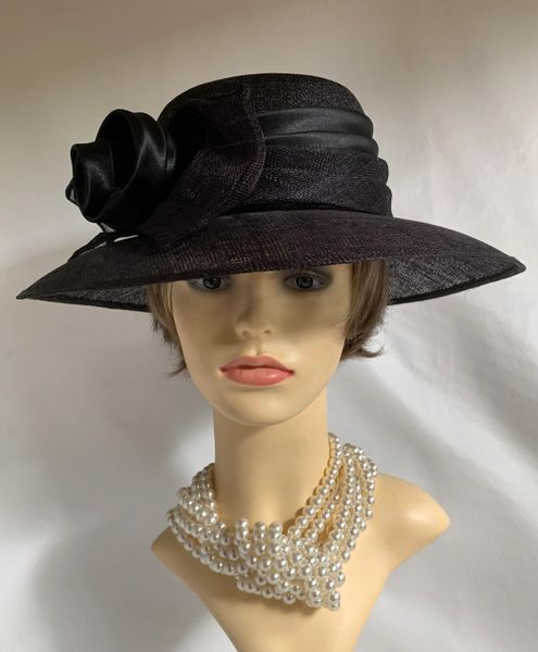 Sinamay Black Dress Hat With Wrap Around Fabric & Sinamay Pleated Ribbon & Bow Detail