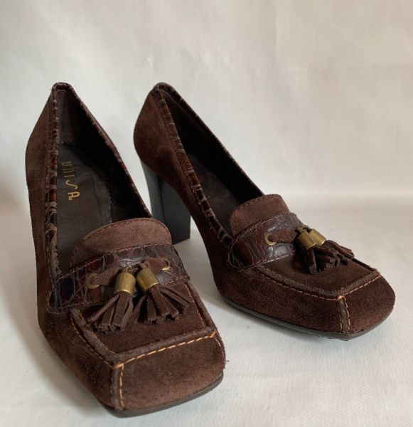 Unisa Brown Suede Leather 3 Inch High Heel Tasselled Loafer With Rubber Soles