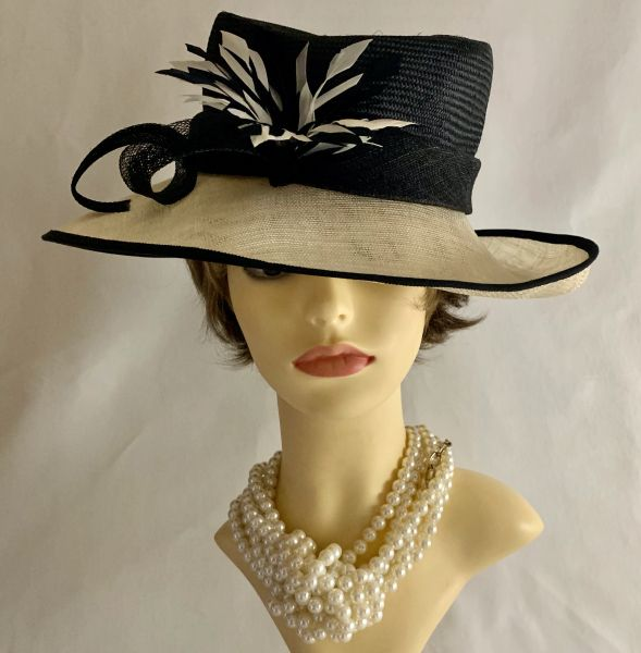 Jacque Vert Formal Black And Natural Sinamay Hat Feather Rosette & Sinamay Bow.