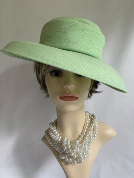 British Hat Guild Formal Hat In An Apple Green Substantial Fabric With Matching Band Ribbon
