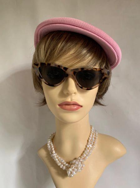 Vintage Inspired 1960s Pink Stretch Peaky Blinder Workman Style Peak Cap 56cm.