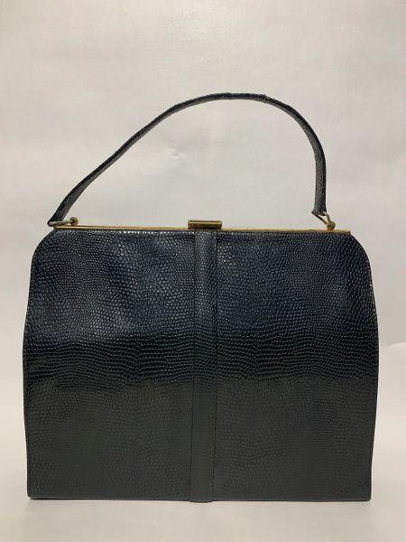 Well Loved Vintage 1950s Black Faux Lizard Synthetic Handbag Black Fabric Lining