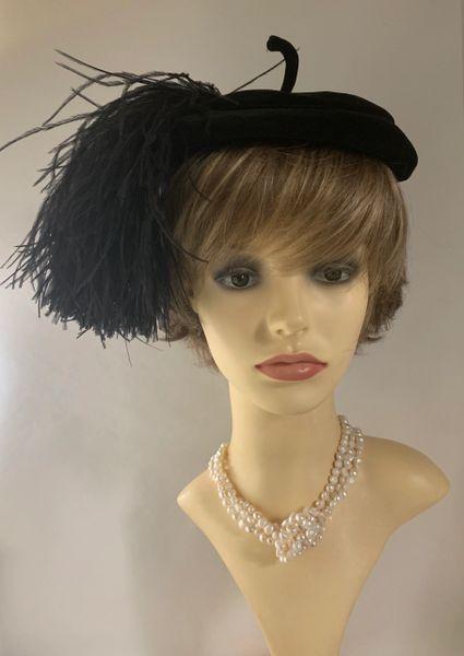 Kangol Vintage 1960s Black Velvet Pillbox Hat With Large Ostrich Feather Detail .
