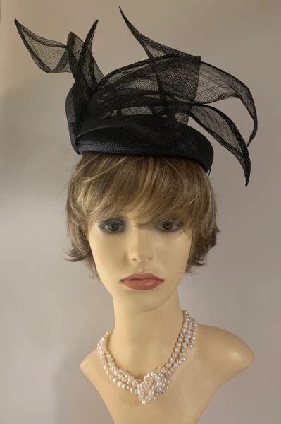 Emma B Balfour Hats Blueish Black Viscose Pillbox Hat With Elaborate Detail To Top