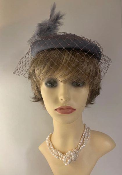 Vintage Grey1960s Pillbox Hat Grey Feather Detail Dark Dusky Pink Face Veil Fully Lined