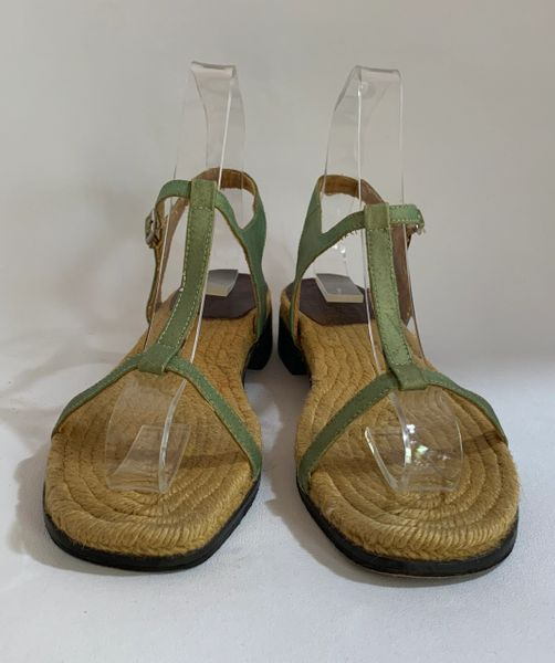 Castaner Dusky Green Fabric & Leather T-Bar Summer Sandals Leather Soles Size UK 3 EU 36