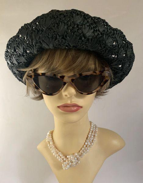 Per Una Black Small Brim Paper Woven Floppy Summer Casual Sun Hat Can be worn brim up or down
