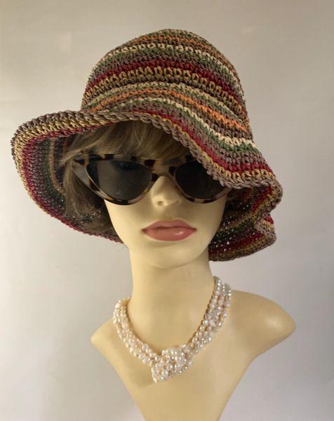 Multi Coloured Small Brim Paper Woven Floppy Summer Casual Sun Hat