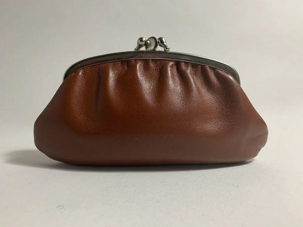 Vintage 1950s Tan Leather Double Sided Kiss Clasp Coin Purse Faux Suede Lining
